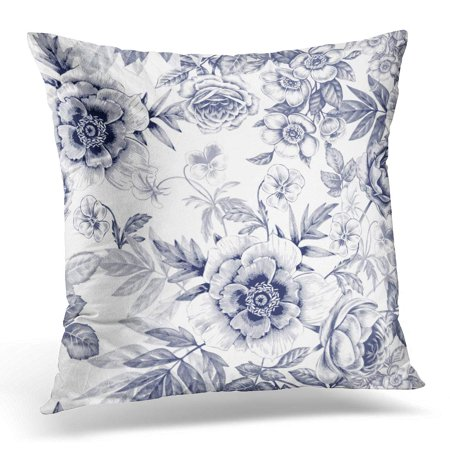 ECCOT White Flower Rose Peony Design Fabrics Textiles Retro Vintage Floral Victorian Style Black Oriental Pillowcase Pillow Cover Cushion Case 18x18 inch - Oriental Fabric Case