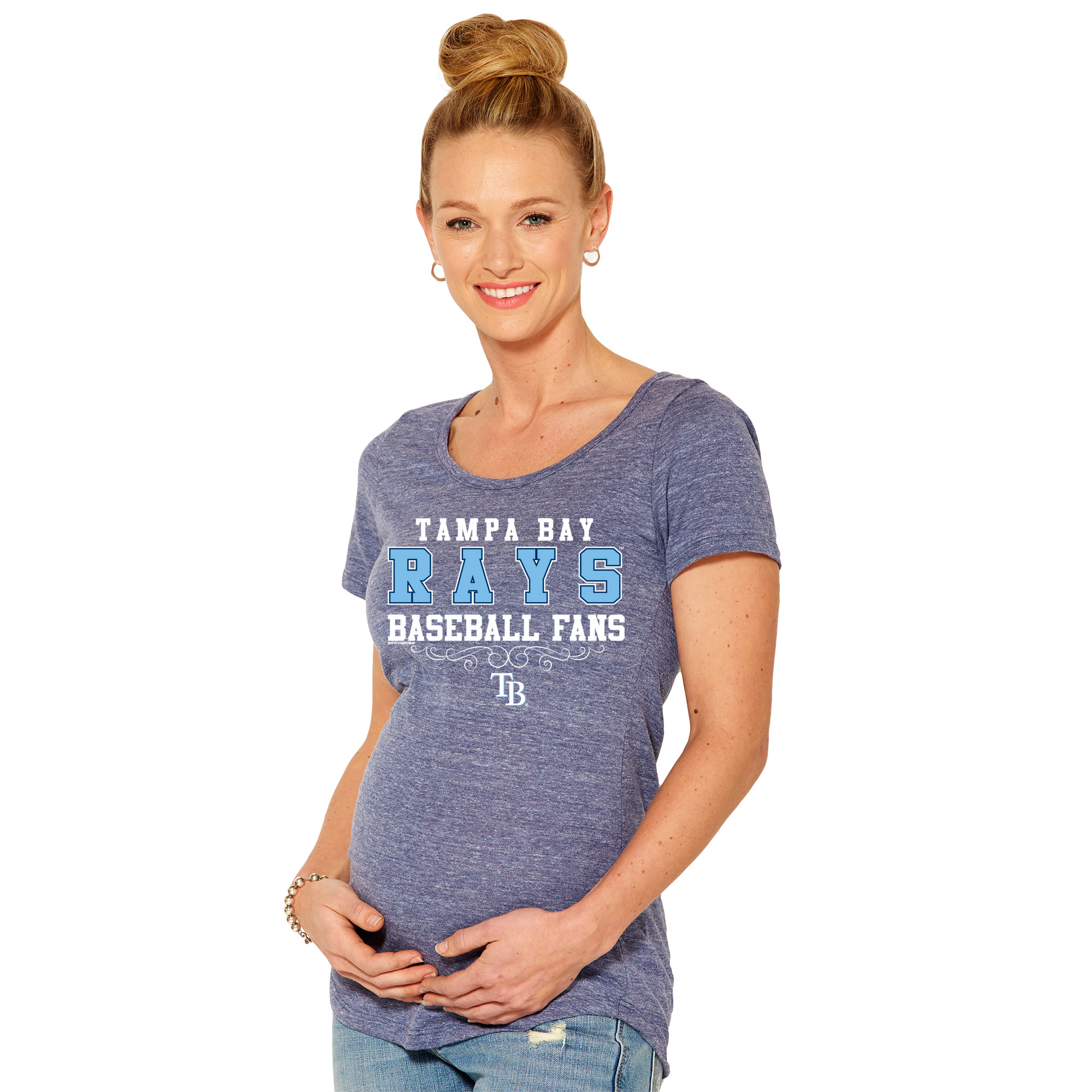 Tampa Bay Rays Soft As A Grape Women's Fans Tri-Blend Maternity T-Shirt - Navy