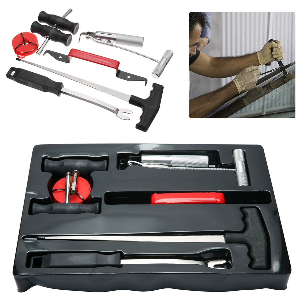7pc Professional Windshield Removal Automotive Wind Glass Remover Hand Tool Kit