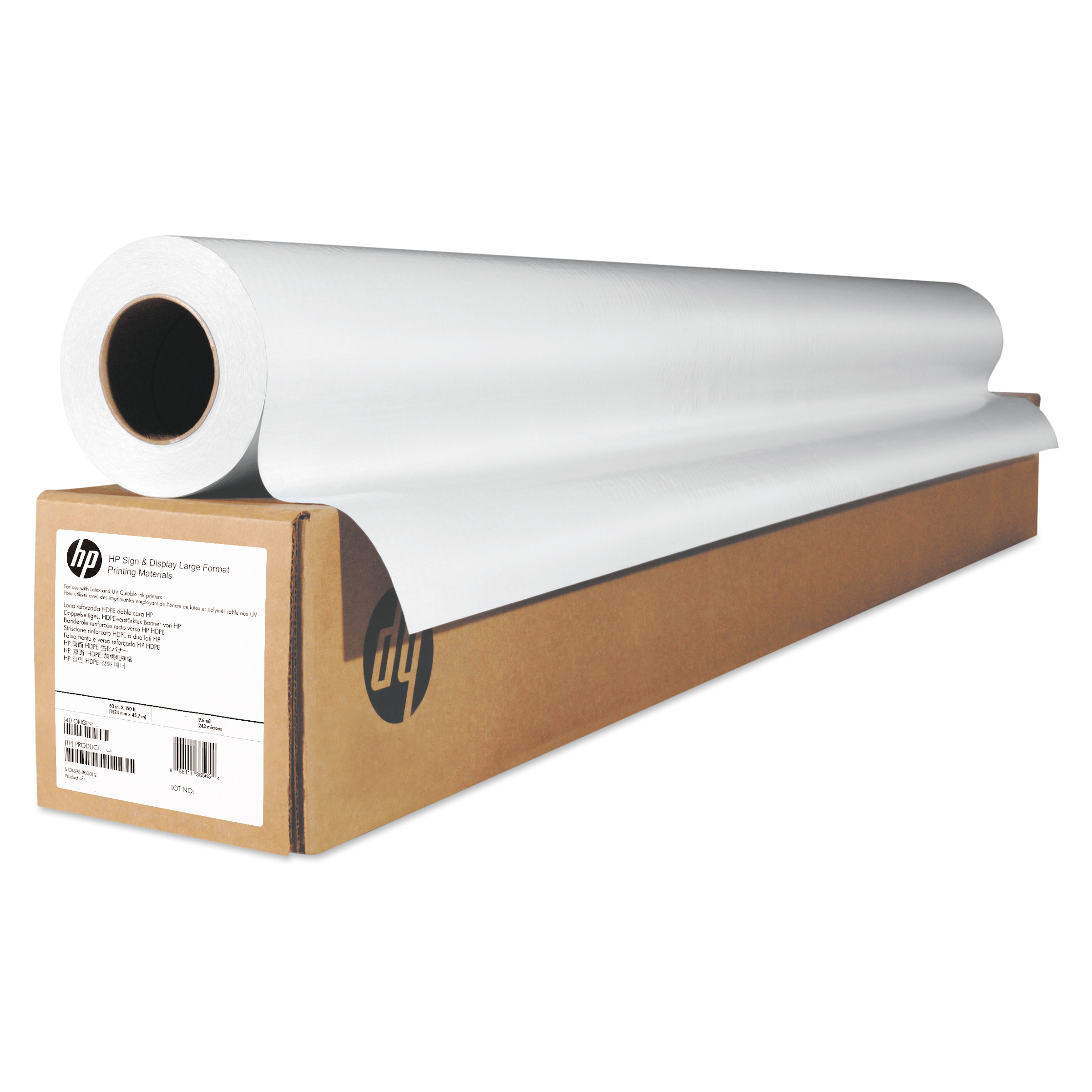 "HP Wide Format Pro Matte Canvas Paper Roll, 36"" x 50 ft, 16 mil, White"