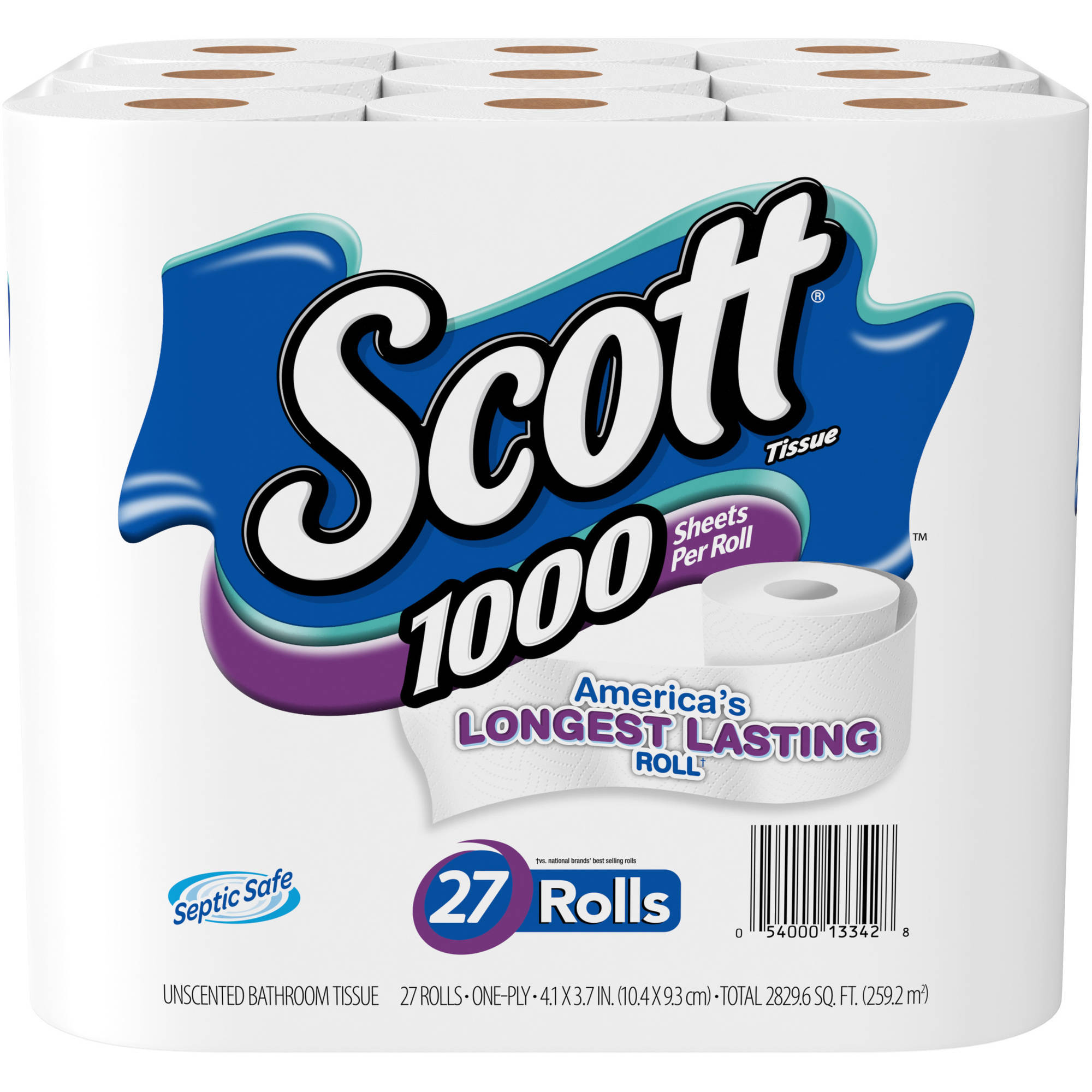 Scott Tissue 1000 Sheets Unscented Bathroom Tissue, 100 sheets, 27 rolls