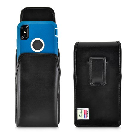 Turtleback Holster Designed for iPhone XS MAX (2018) Fits with OTTERBOX DEFENDER, Vertical Belt Case Black Leather Pouch with Executive Belt Clip, Made in - Design Vertical Case