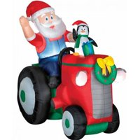Gemmy Airblown Animated Santa with Penguin On Tractor Inflatable