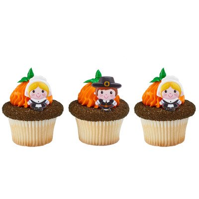 24pack Pilgrims Cupcake / Desert / Food Decoration Topper Rings with Favor Stickers & Sparkle - Pilgrim Decorations