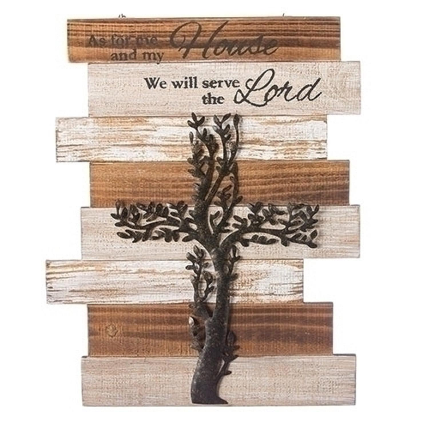 Pack of 2 Brown and White Distress Finish Religious Quoted Wall Mounted Plaques 15""