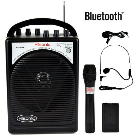 - HISONIC HS122BT Portable Bluetooth PA System with Dual Channel Wireless Microphones
