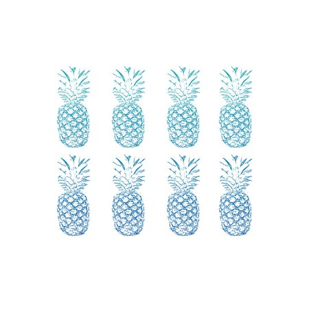Beach Ombre Pineapples Simple Print Wall Art By Linda Woods