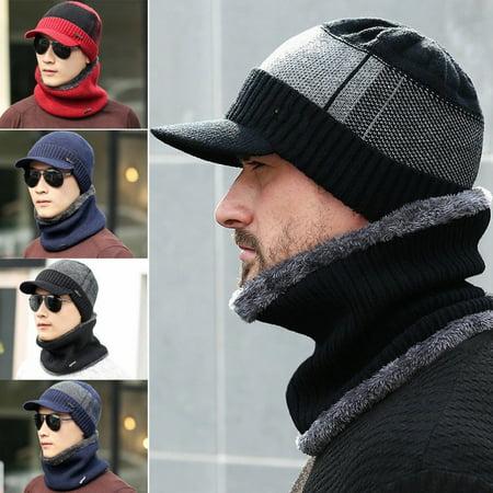 Mist Wool Scarf - Men Camping Hat Winter Beanie Baggy Warm Wool Fleece Ski Cap + Scarf Neckerchief