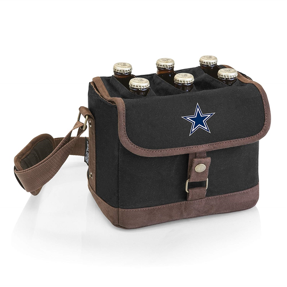 Dallas Cowboys - Beer Caddy Cooler Tote with Opener by Picnic Time (Black)