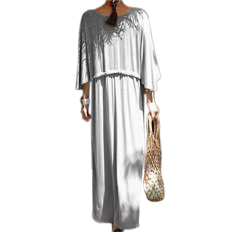 Women Batwing Sleeve Holiday Formal Dresses Casual Maxi Dress Oversized Loose