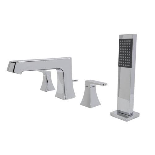 Anzzi Cove Double Handle Deck Mount Roman Bathtub Faucet With Shower