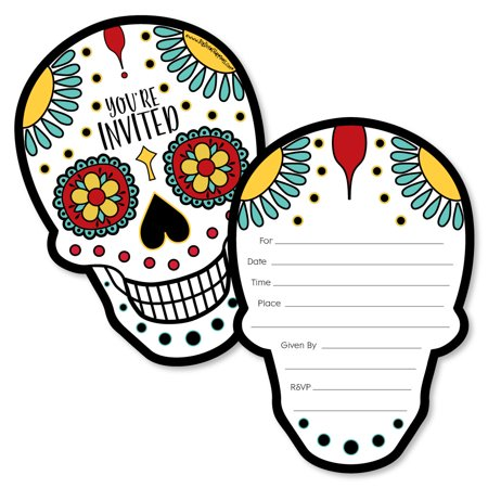 Day Of The Dead - Shaped Fill-In Invitations - Halloween Sugar Skull Party Invitation Cards with Envelopes - Set of