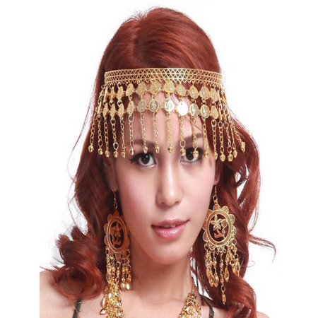 BellyLady Belly Dance Tribal Gold Coins Headband, Gypsy Jewelry, Gift Idea