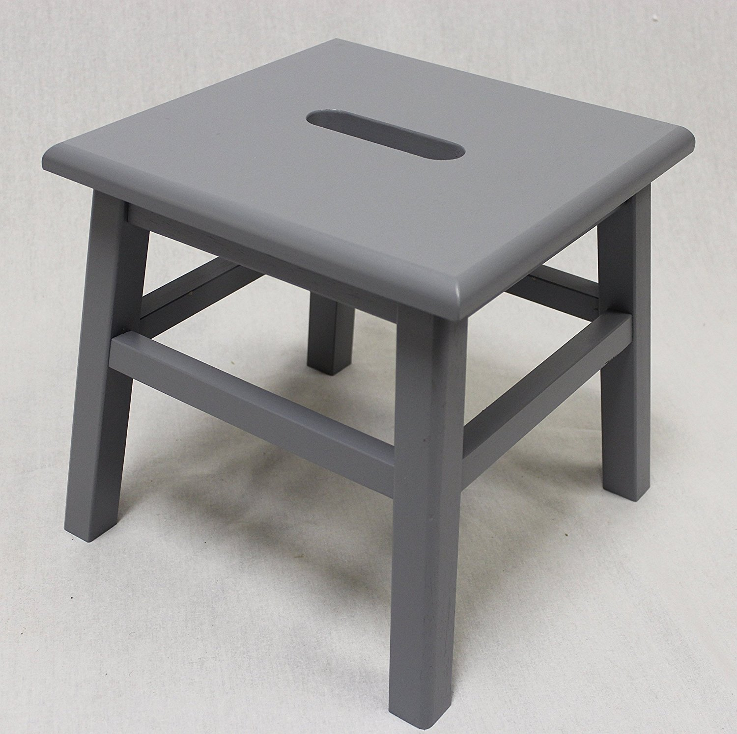 "12"" Hardwood Footstool in Grey, 1PC by"