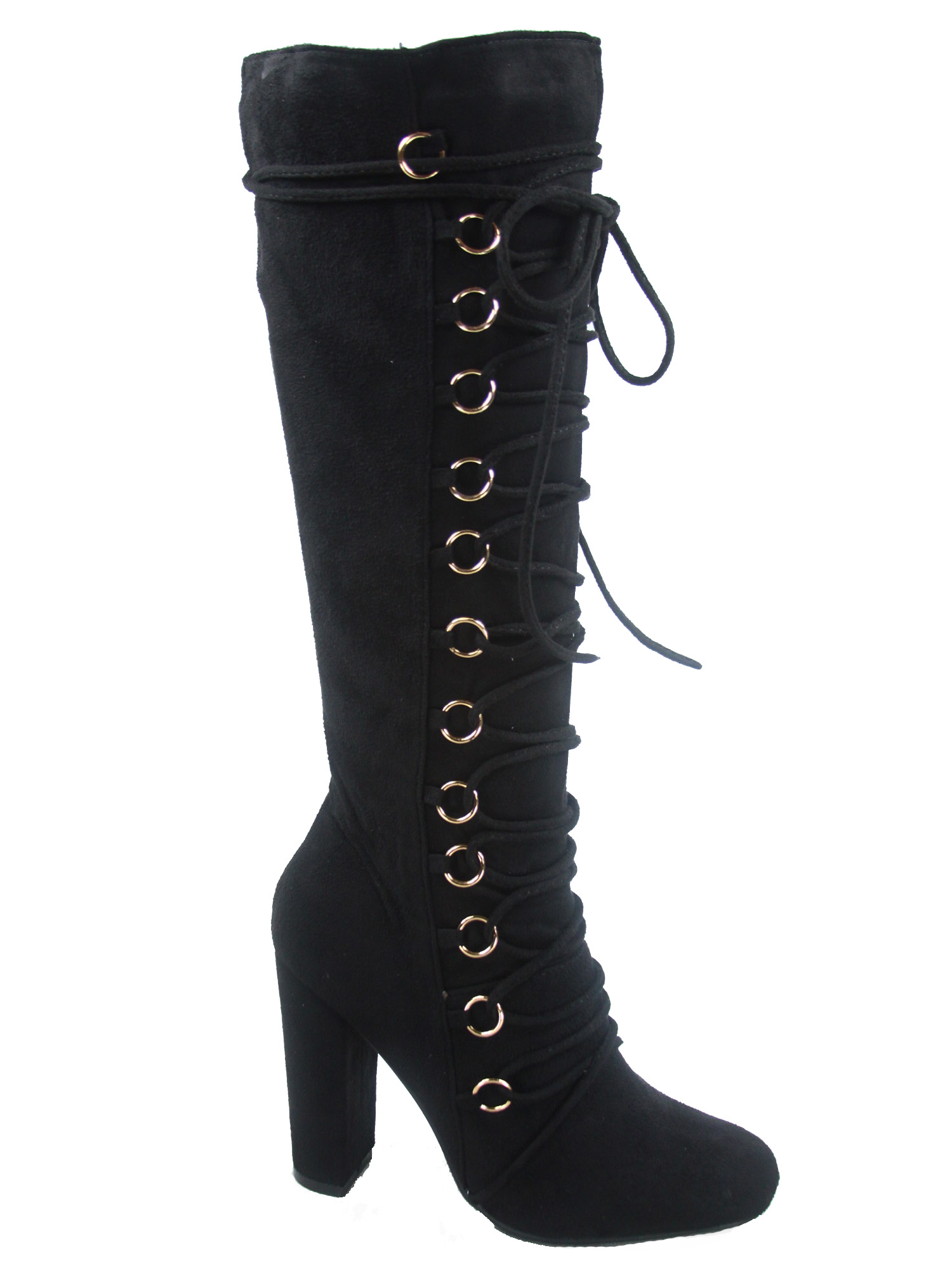 Women/'s  Lace Up Side Zip Mid-Calf Knee High Chunky High Heel Boots 5.5-10 NEW