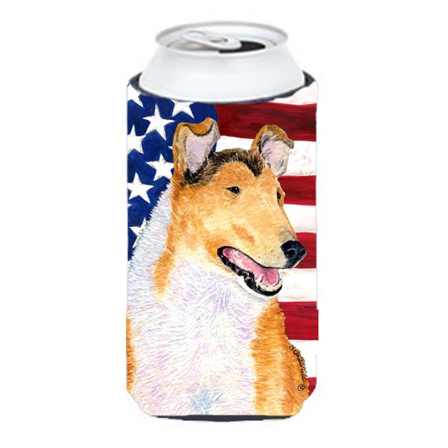 Usa American Flag With Collie Smooth Tall Boy bottle sleeve Hugger - image 1 of 1