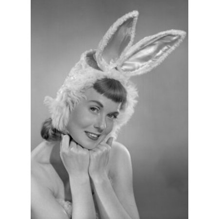 Pin The Tail On The Bunny - Pin-up girl wearing bunny costume Poster Print
