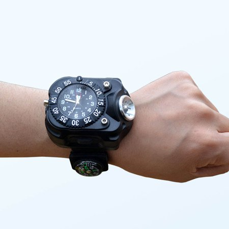 3 in 1 Super Bright LED Watch Flashlight Torch lights Compass, Outdoor Sports Rechargeable Mens Wrist Watch, Waterproof Wristband Lamp - image 6 of 6