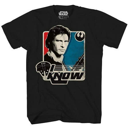 Han Solo I Know Princess Leia Star Wars Millennium Falcon Retro Vintage Classic Funny Humor Pun Mens Adult Graphic Tee T-Shirt](Leia And Han)