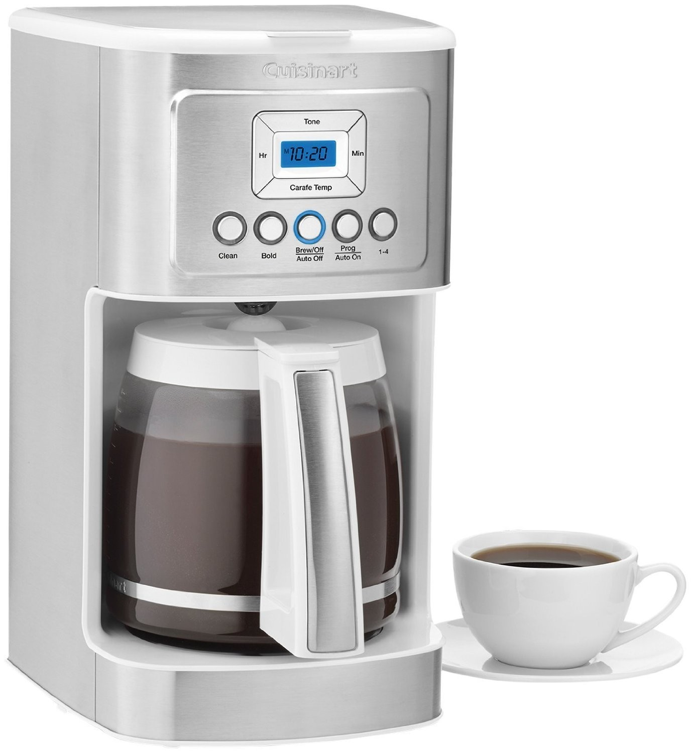 Cuisinart Brushed Steel-White 14 Cup Programmable Coffee Maker
