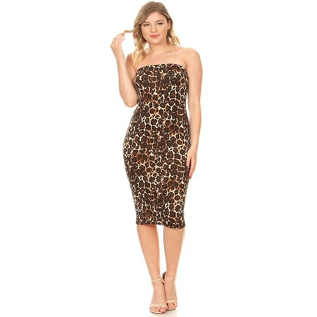 NEW MOA Women's Pattern Print Lightweight Strapless Bodycon Slim Fit Tube Midi Dress/Made in USA