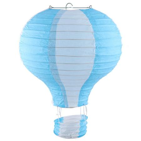 Paper Lightless Hanging DIY Decor Hot Air Balloon Lantern Blue White 10 Inch Dia