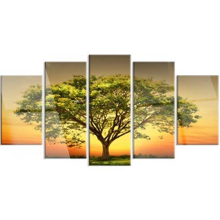 Design Art 'Green Tree Against Setting Sun' 5 Piece Photographic Print on Canvas Set ()