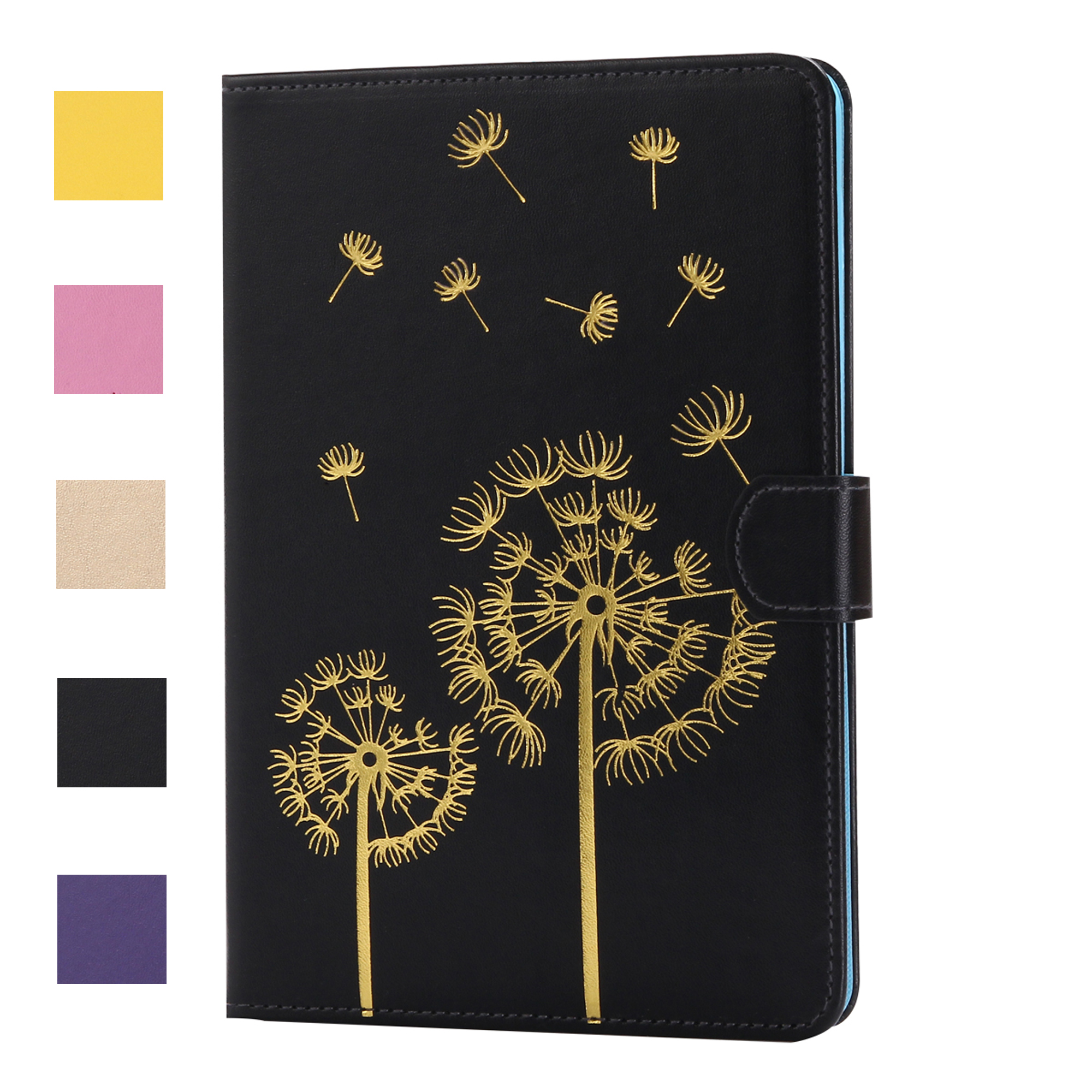 Dteck For Apple iPad Mini 1 2 3 Smart Dandelion Pattern PU Leather Wallet Card Slots Case Flip Stand Cover - Black