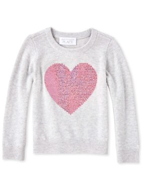 The Children's Place Long Sleeve Sequin Heart Knit Sweater (Baby Girls & Toddler Girls)