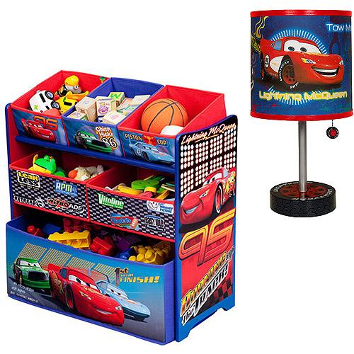 Disney - Cars Multi-Bin Toy Organizer & Table Lamp Bundle