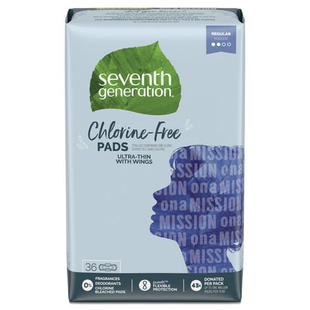 Seventh Generation Ultra Thin Pads, Regular with Wings, Free & Clear, 36 count (Sonnenbrille Pads)