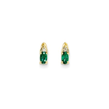 14k Yellow Gold Diamond Green Emerald Post Stud Earrings Drop Dangle Birthstone May Set (Gold Emerald Stone Set)