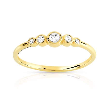 Trillion Designs 1/5 CT.T.W Round Cut Genuine Diamond Five Stone Engagement Ring In 10K Gold