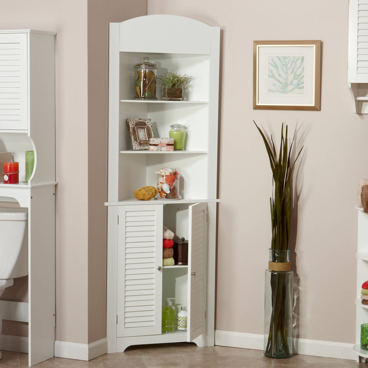 RiverRidge Home Ellsworth Collection   Tall Corner Cabinet   White    Walmart.com