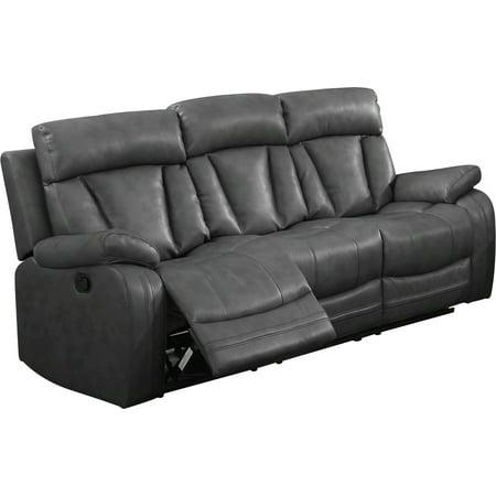 Leonel Signature Benjamin Bonded Leather Motion Sofa (2 reclining seats), Gray