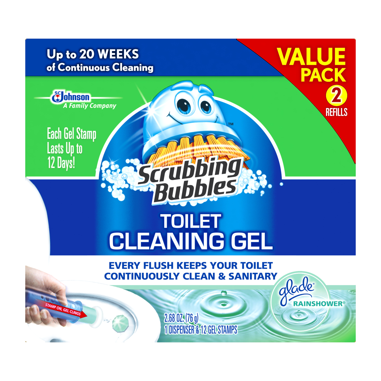 Scrubbing Bubbles Toilet Cleaning Gel Starter Kit, Glade Rainshower, 2 ct, 1.34 oz