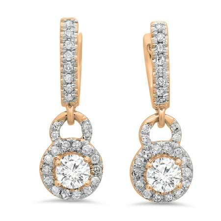 Dazzlingrock Collection 0.45 Carat (ctw) 18K Round White Diamond Ladies Halo Style Dangling Drop Earrings 1/2 CT, Rose Gold