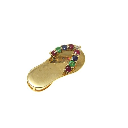 14K yellow gold ruby emerald sapphire diamond Hawaiian flip flop slipper pendant
