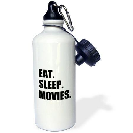 3dRose Eat Sleep Movies - fun gifts for film making makers buffs fans critics, Sports Water Bottle, 21oz (Bff Water Bottles)