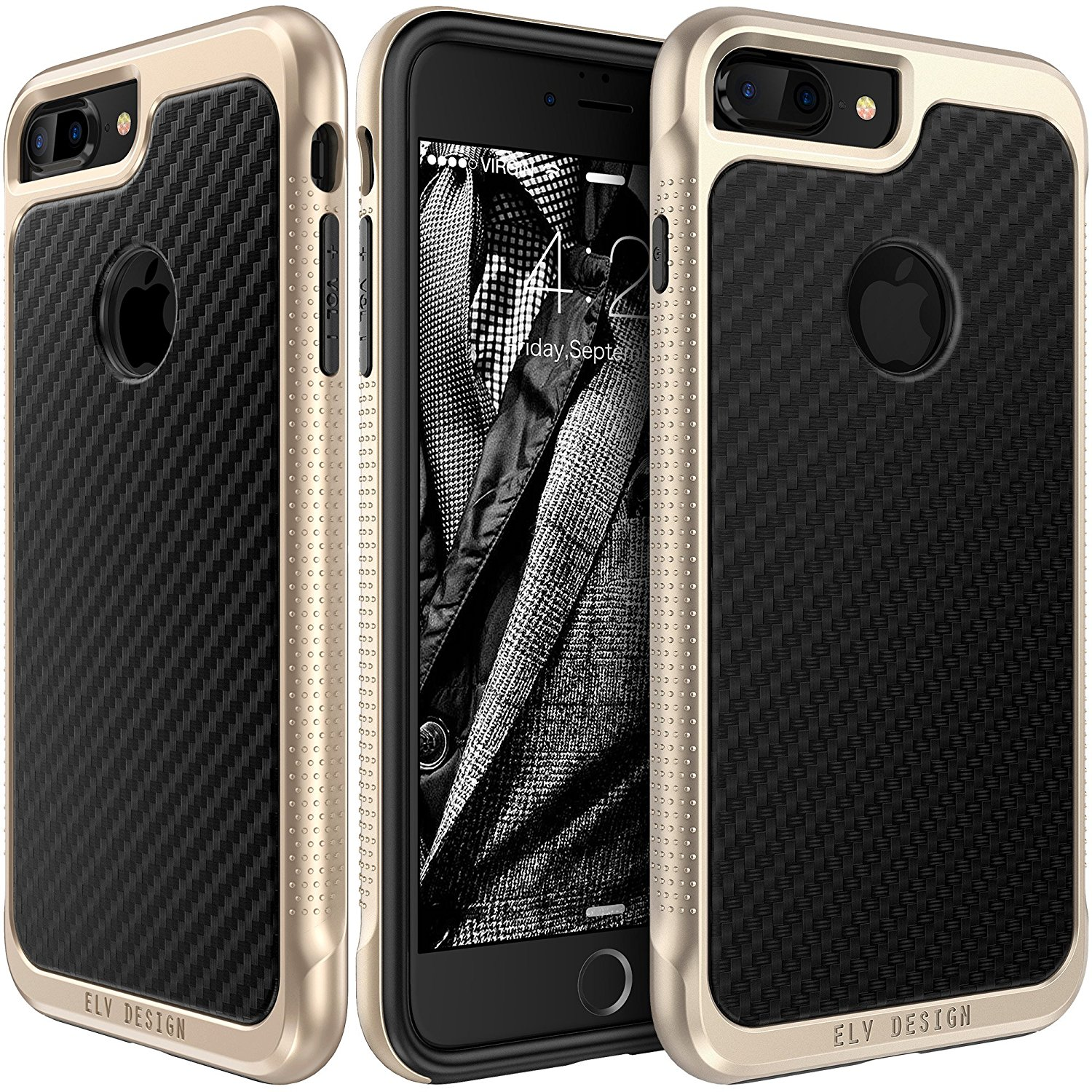 iPhone 7 Plus Case, E LV iPhone 7 Plus Case Cover - PU Leather Slim Protective Case Cover for Apple iPhone 7 Plus - [CARBON BLACK]