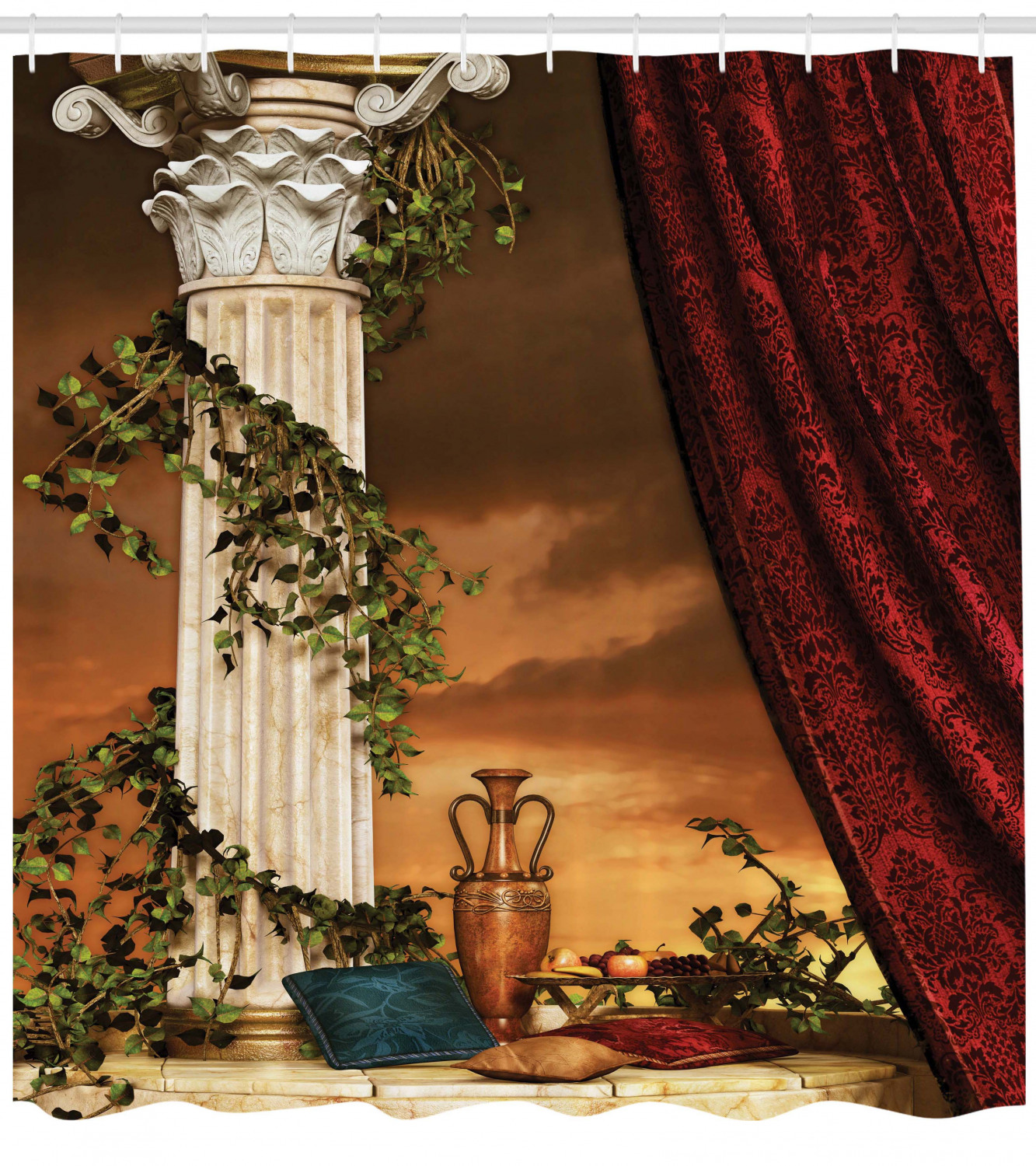 Gothic Shower Curtain Greek Style Scene Climber Pillow Fruits Vine And Red Curtain Ancient Figure Sunset Fabric Bathroom Set With Hooks 69w X 70l