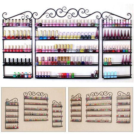 3PCS Nail Polish Display Wall Rack 5 Layers Nail Polish Organizer Black - Halloween Black Nails