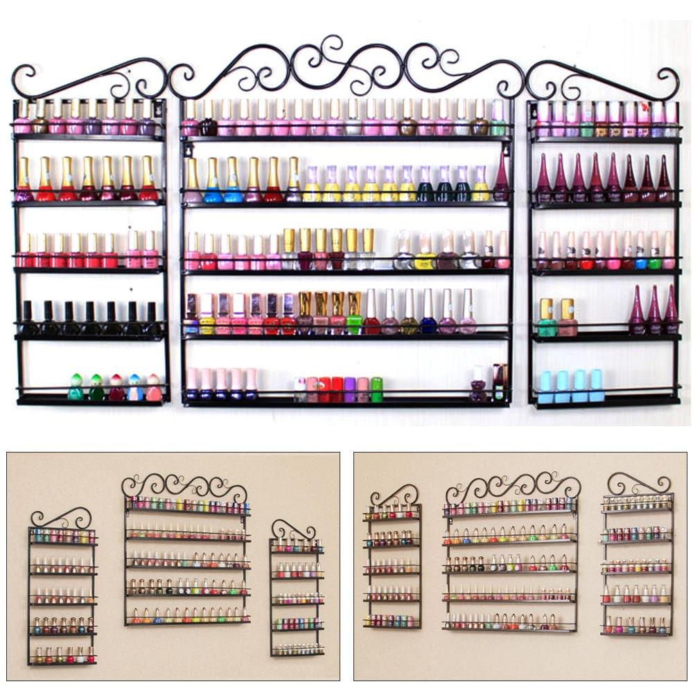 3PCS Nail Polish Display Wall Rack 5 Layers Nail Polish Organizer Black