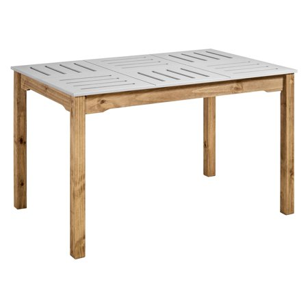 "Mid- Century Modern Stillwell 47.25"" Rectangular Table in Gray and Natural Wood"