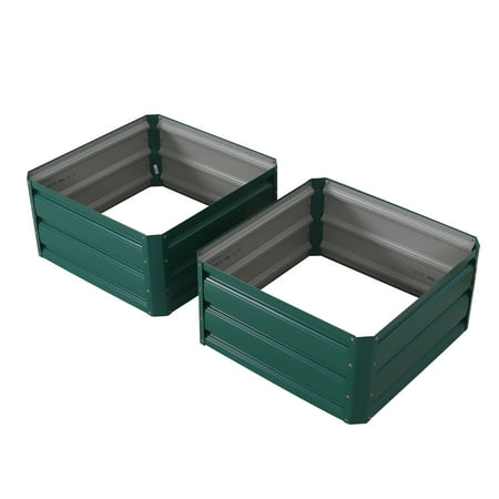 Outsunny Galvanized Raised Garden Bed Kit, Outdoor Metal Planter Box for Vegetables Herbs, Set of 2, 2' x 2' x 1'