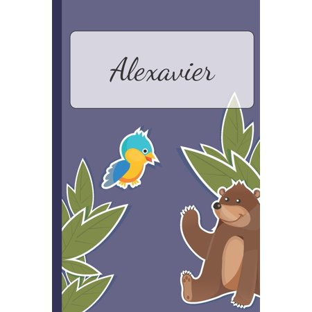 Alexavier : Personalized Notebooks - Sketchbook for Kids with Name Tag - Drawing for Beginners with 110 Dot Grid Pages - 6x9 / A5 size Name Notebook - Perfect as a Personal Gift - Planner and Journal for kids