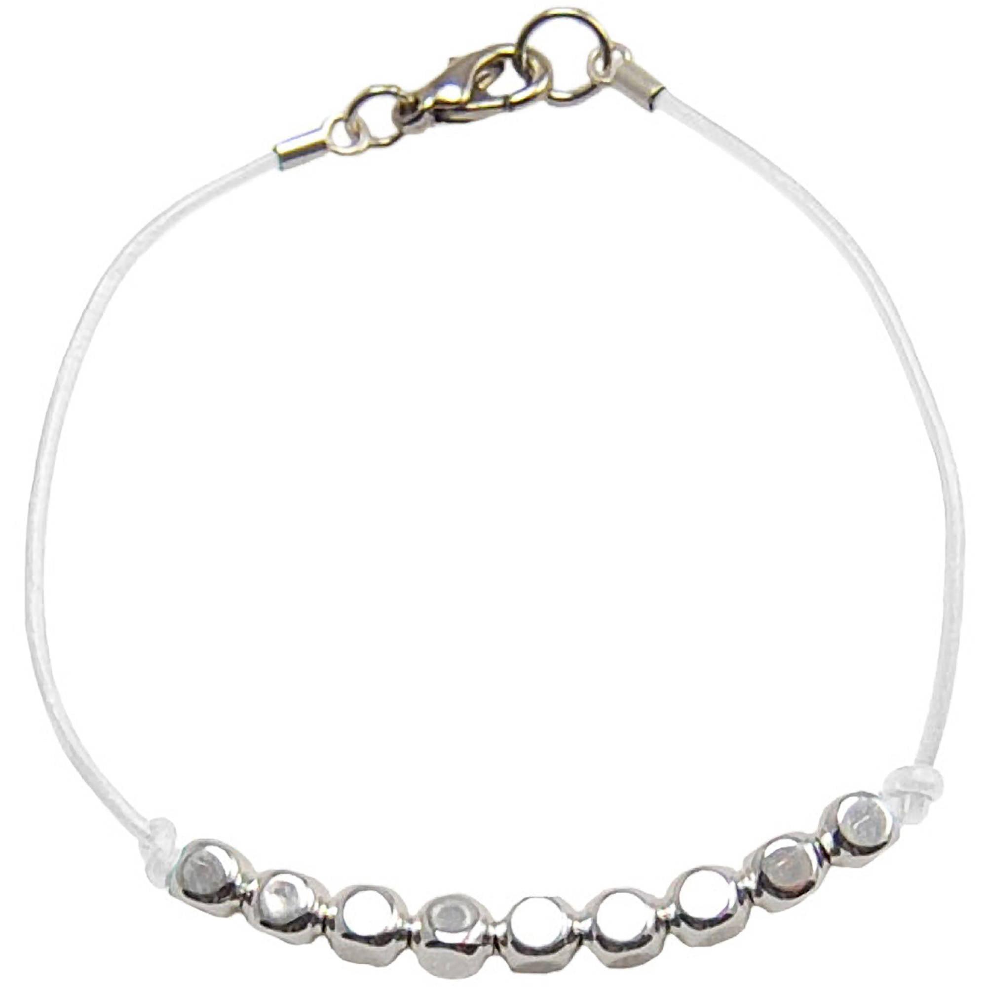 Miss Zoe by Calinana Dot Leather Bracelet, White/Silver