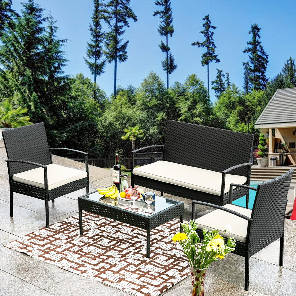 4 Pieces Outdoor Furniture On Clearance, Sofa Wicker