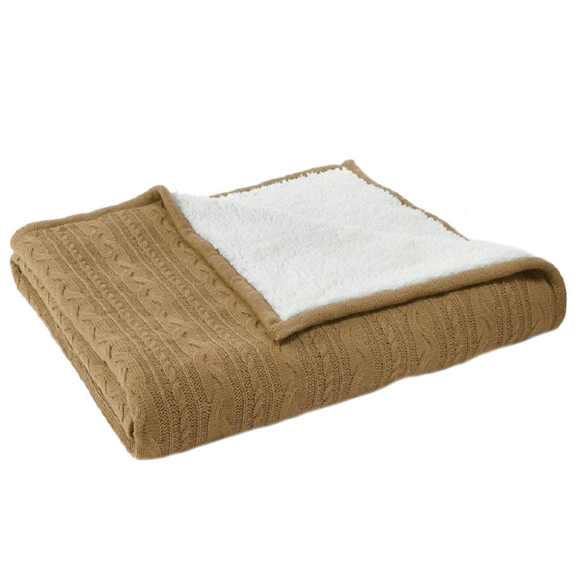 Sonoma Cable-Knit Sherpa Reversible Throw Blanket