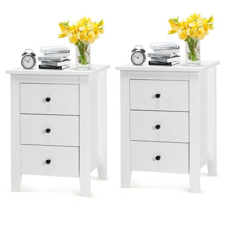 2PCS Nightstand End Beside Table Drawers Modern Storage Bedroom Furniture White ()